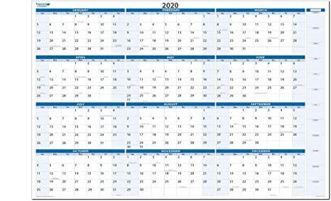 Calendar Year 2020.Dry And Wet Erasable Wall Calendars 38 In X 58 In Non Ghosting Non Staining Best In It S Class Ma Year 2020 Sky Blue