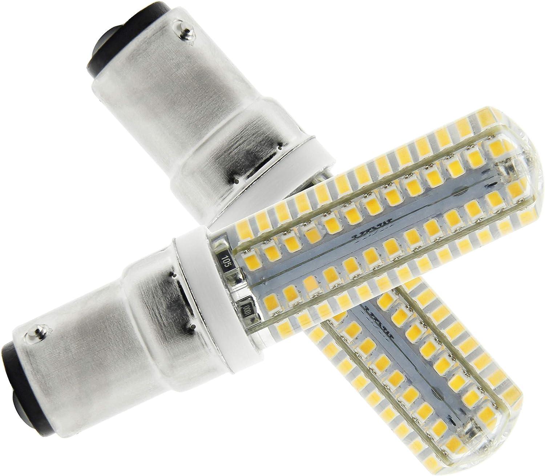 B15 Bombilla SBC Ba15d 6W LED Blanco Cálido 3000K 220V Non-Dimmable 550 Lúmenes–Equivalente a Lámpara Halógena de 55W Doble Bayoneta B15 LED Luz Para Máquina de Coser/Aparato Lámparas [2 unidades]