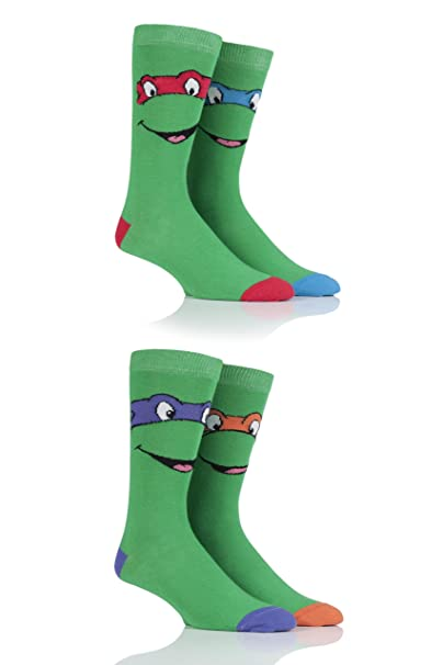Amazon.com: Mens 4 Par SockShop Teenage Mutant Ninja Turtles ...