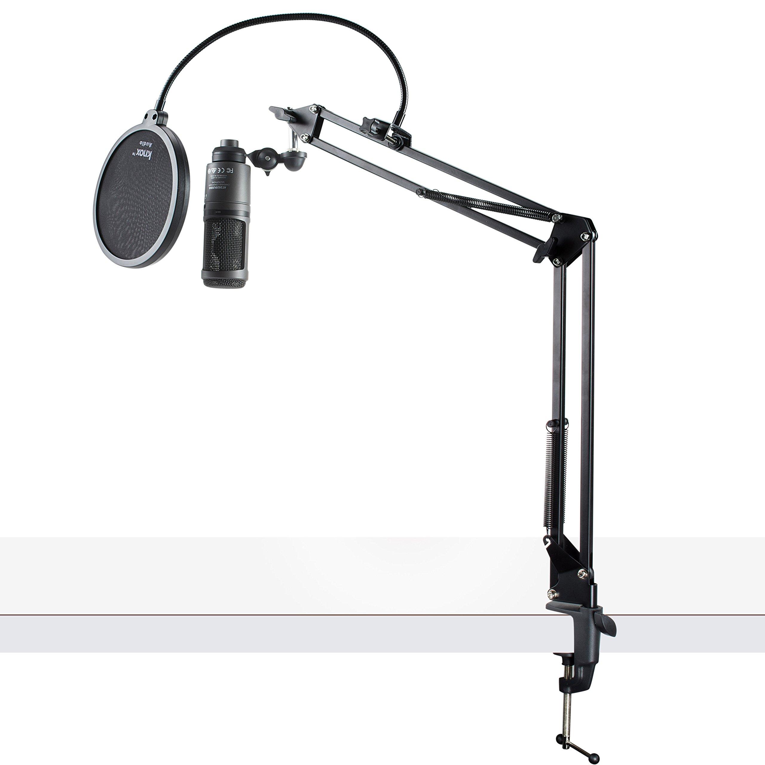 Audio-Technica AT2020USB + Micrófono USB de condensador con filtro Pop Knox y brazo de brazo