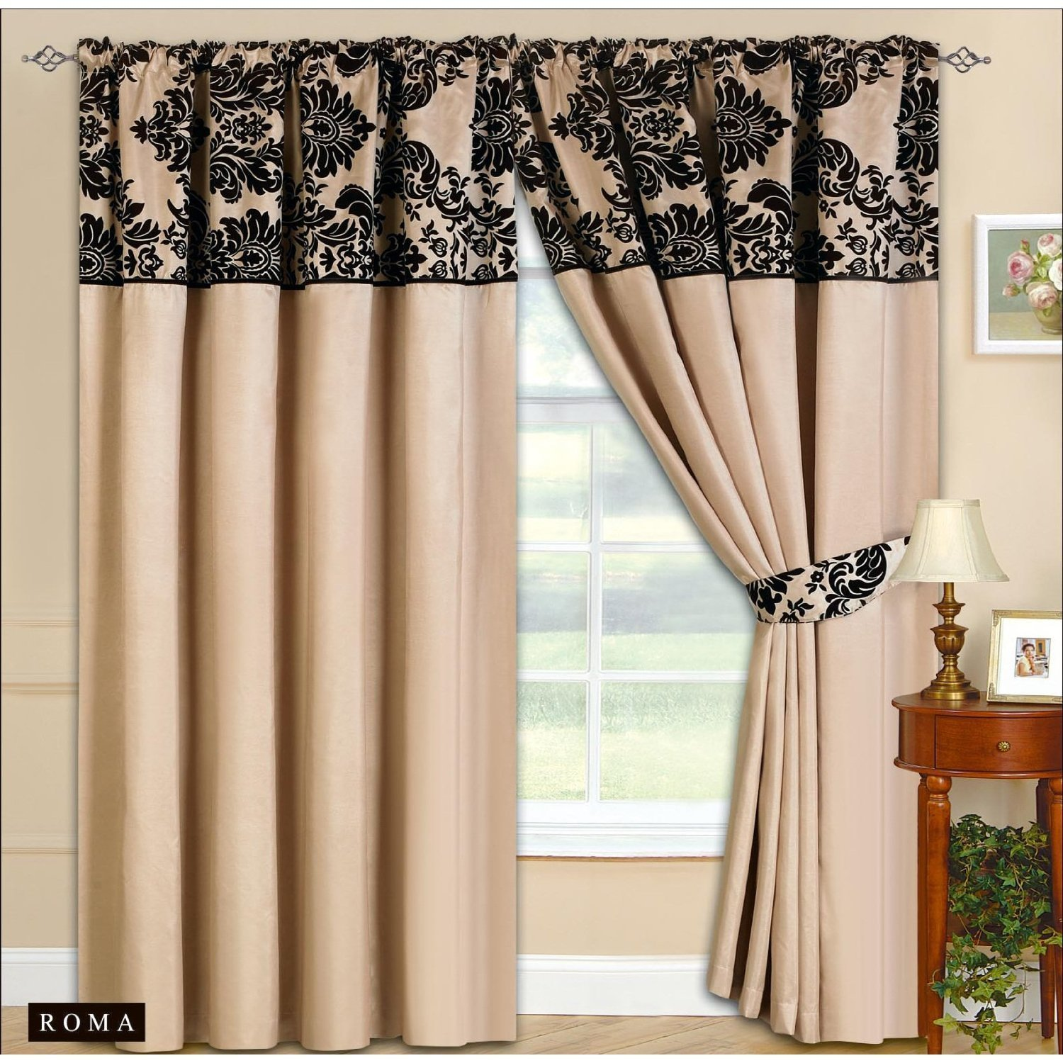 66x72 Half Flock Pencil Pleat Luxurious Pair Of Curtains With Matching Tie Backs
