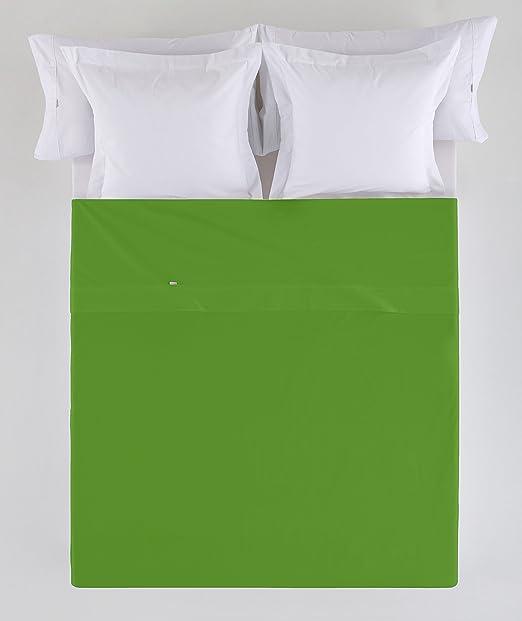 ESTELA - Sábana encimera Combi Color Verde - Cama de 90 cm. - 50% Algodón / 50% Poliéster - 144 Hilos: Amazon.es: Hogar