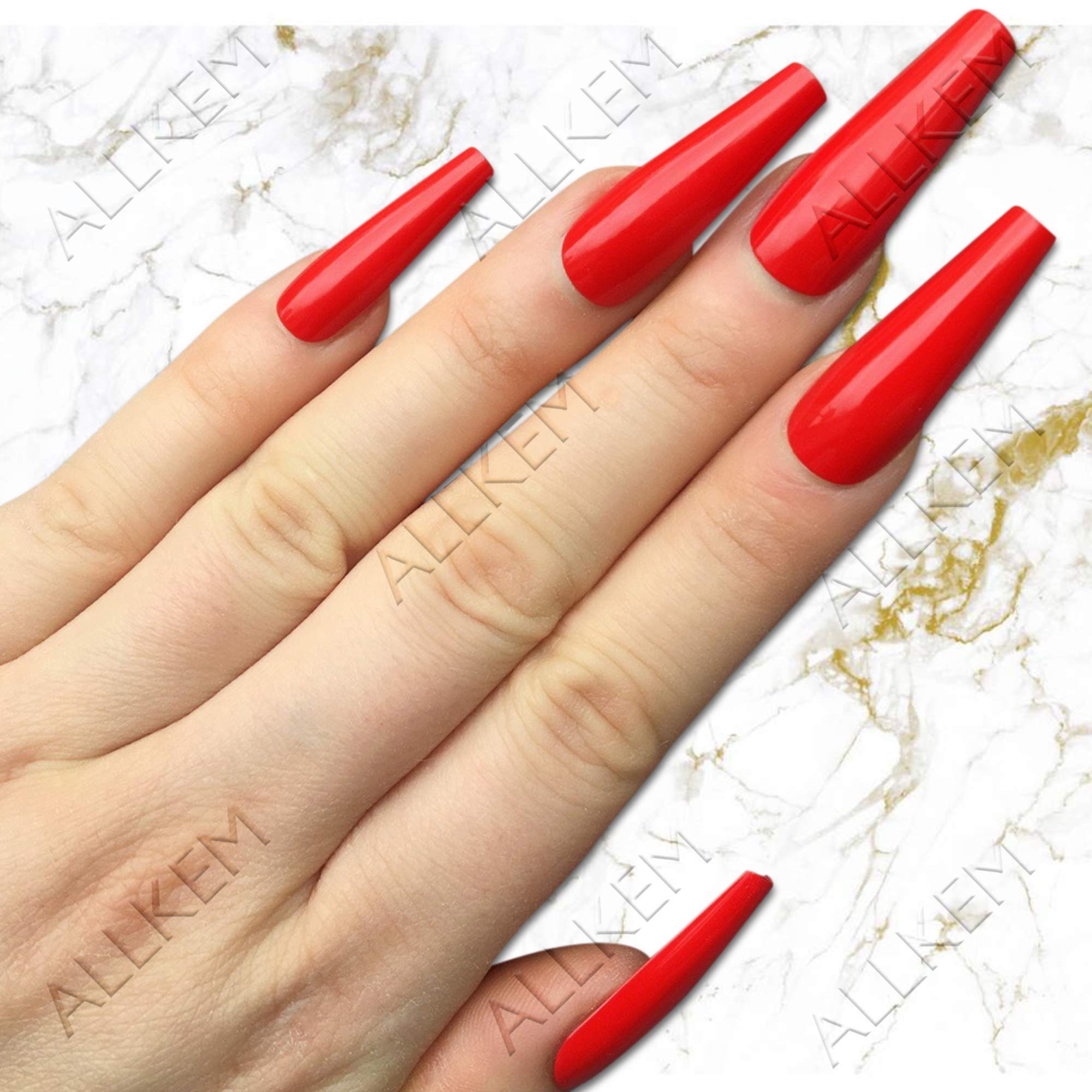 Hot Red Extra-Long Coffin 20 pcs false nails - Fake Nail Tips 10 sizes Full Coverage by VM Direct