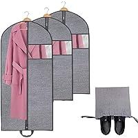 homyfort Lot de 3 Housses de Protection pour Vêtements Costumes Sac de Vêtement avec Zip, Housse de Voyage Pliable à Poignées pour Transporter Chemises, 137 cm, 100 cm