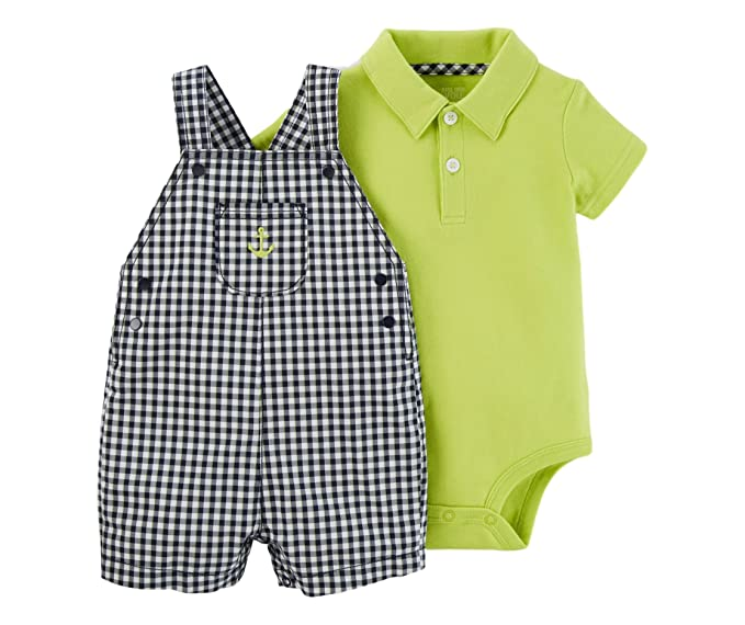 724cb346f5eb Carter s Just One you Baby Boys  Gingham Anchor Shortall Set Navy Lime (3
