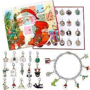 Lorfancy 24 Days Christmas Advent Calendar 2020 Christmas Countdown Calendar 23 Charms with Bracelet Necklace Set Fashion Jewelry for Kids