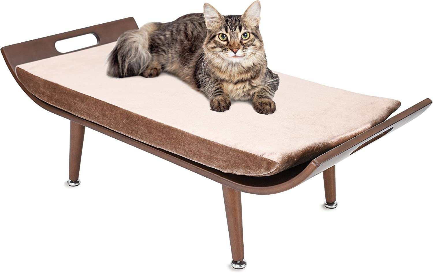 Penn-Plax Cat Walk Furniture: Luxury Lounger Cat Bed – Mid-Century Modern – For All Size Cats - Brown (CATFF18)