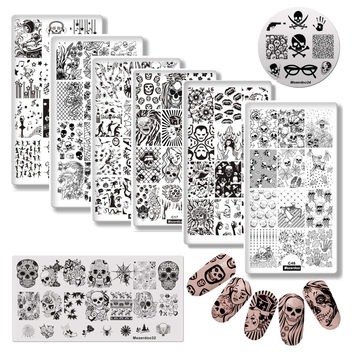 8pcs Halloween Nail Stamping Template Skull/Ghost/Bat/Death Patterns DIY Nail Designs Manicure Stamp Plate Festival Nails Stencil Pumpkin/Vampire Nail Art Image Plates Mezerdoo