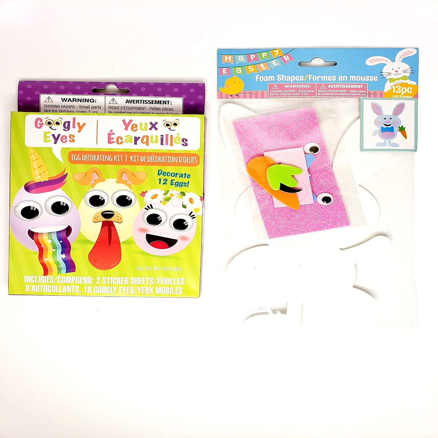 Easter Egg Googly Eyes kit Decorating Kit Stickers Foam Shapes Easter Bunny Bundle of 2