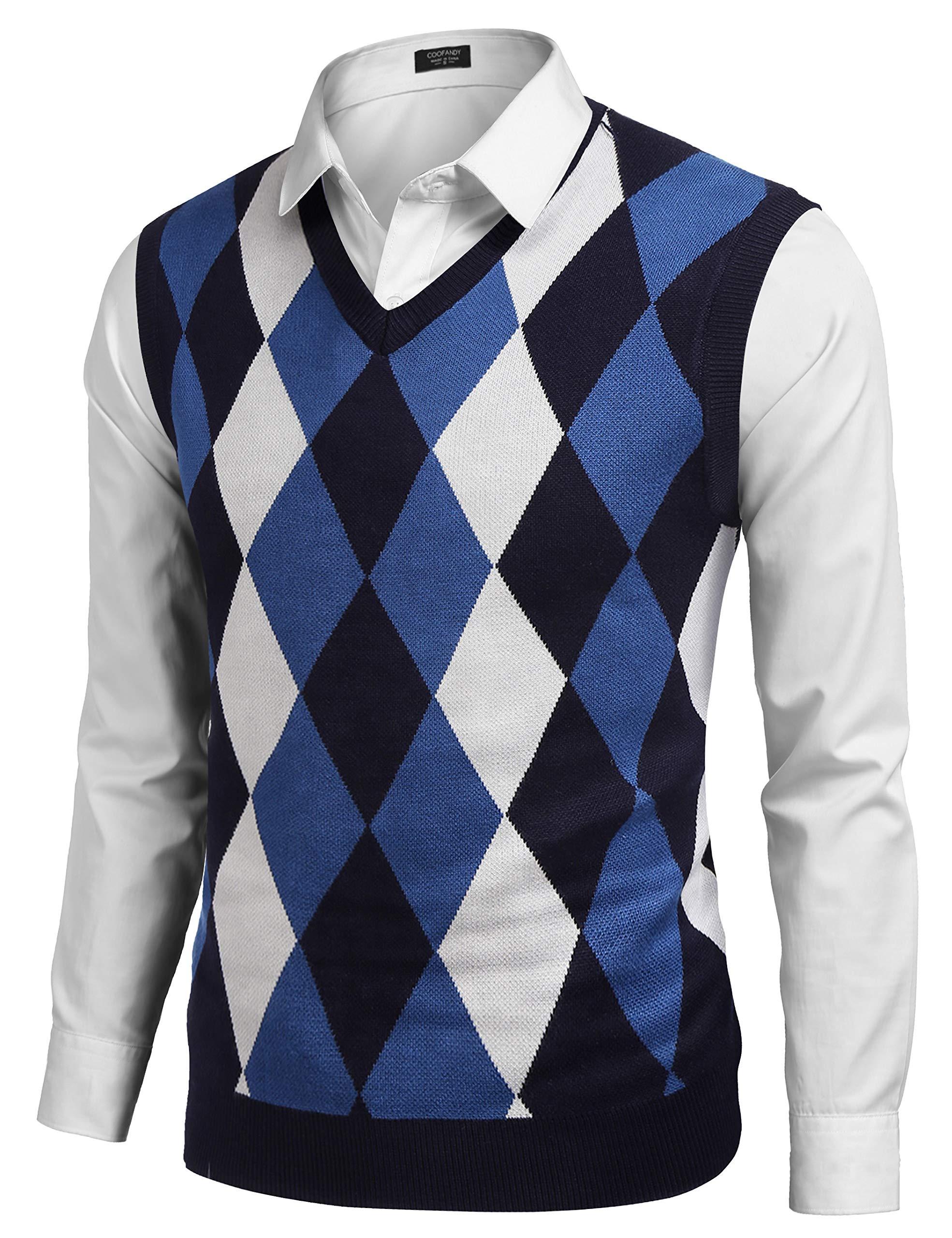 JINIDU Mens V-Neck Casual Slim Fit Golf Knit Vest Sleeveless Sweater Pullover Navy Blue by JINIDU