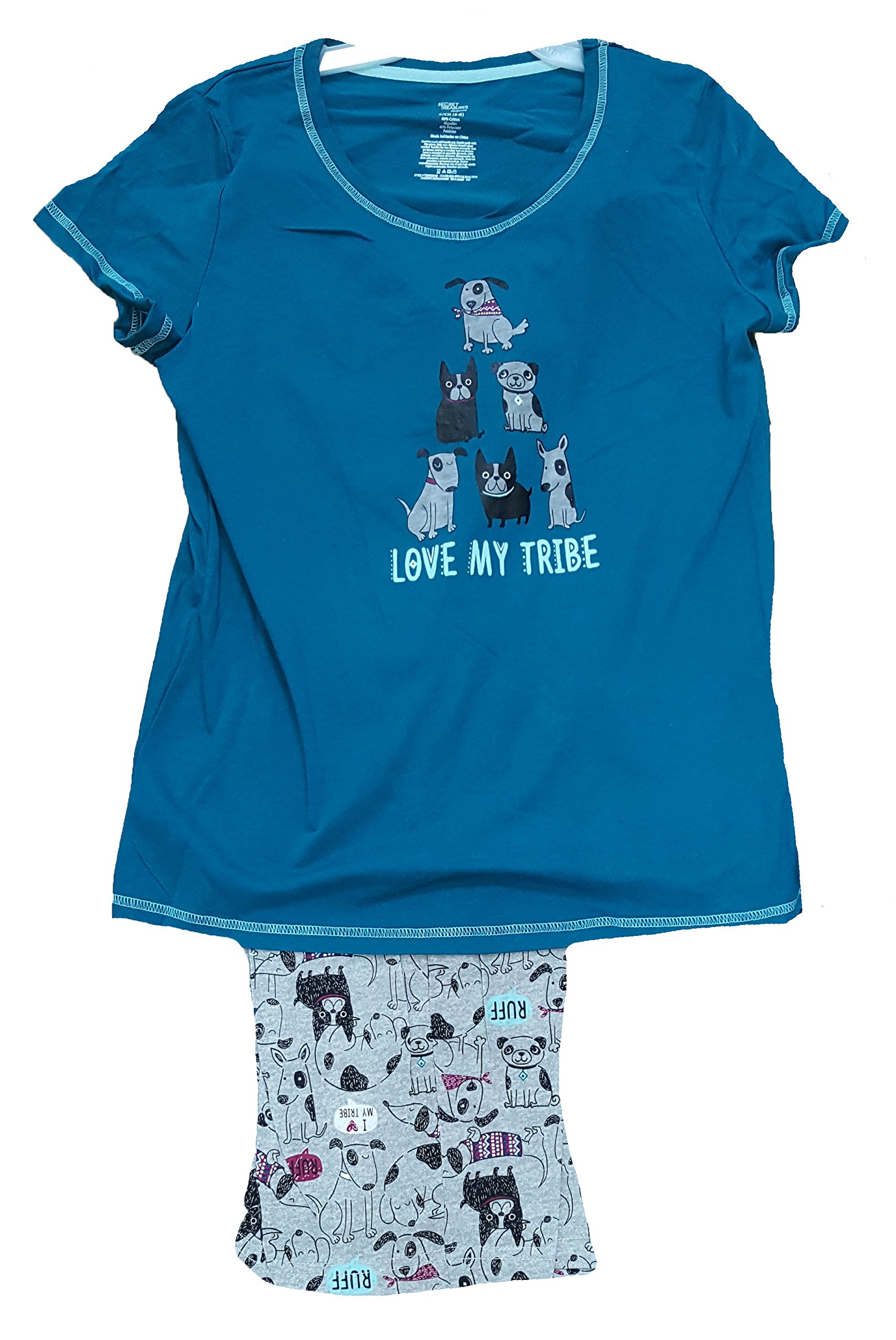 Love My Tribe Puppy Dogs Galapagos Blue 2 Piece Knit Pajama Sleep Set - X-Large