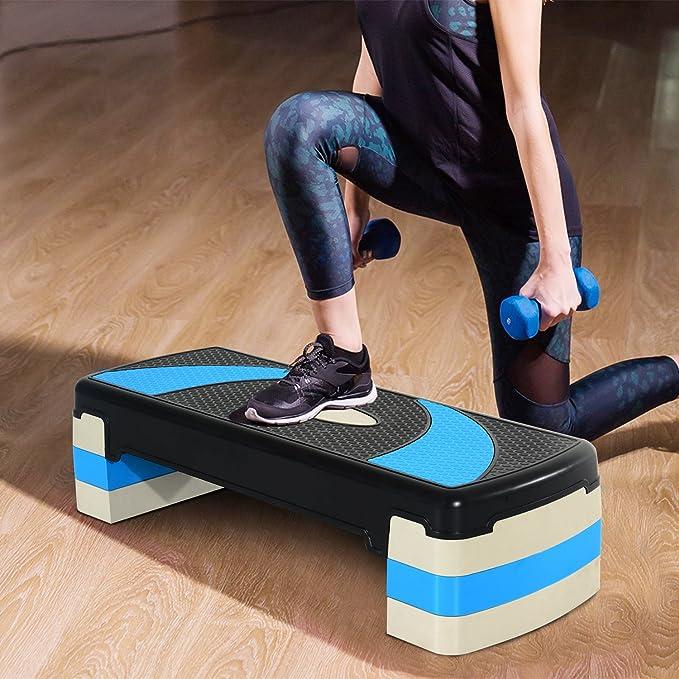 HOMCOM Step de Aeróbic para Fitness Stepper Tabla Plataforma Deporte Gimnasia Altura Regulable 3 Niveles Carga 150kg: Amazon.es: Deportes y aire libre
