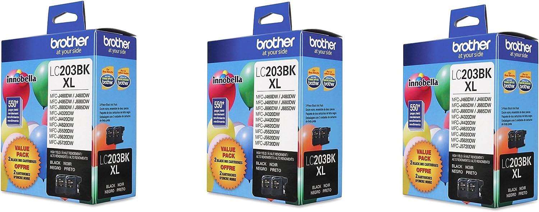Black Ink FbuUsL XL 2 Pack Brother LC203BK 3Pack