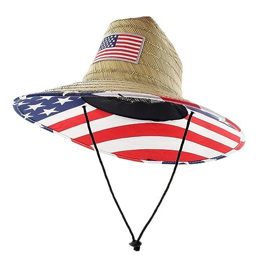 d0f44e444 JFH Men's Pierside Wide Brim Straw Sun Hat with Chin Cord
