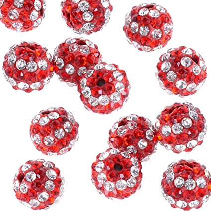 50pcs 10mm Red Clay Rhinestone Crystal Shamballa Beads Bracelet Diy Beads For Jewelry Making Round Pave Disco Ball Beads Beads Jewelry & Accessories