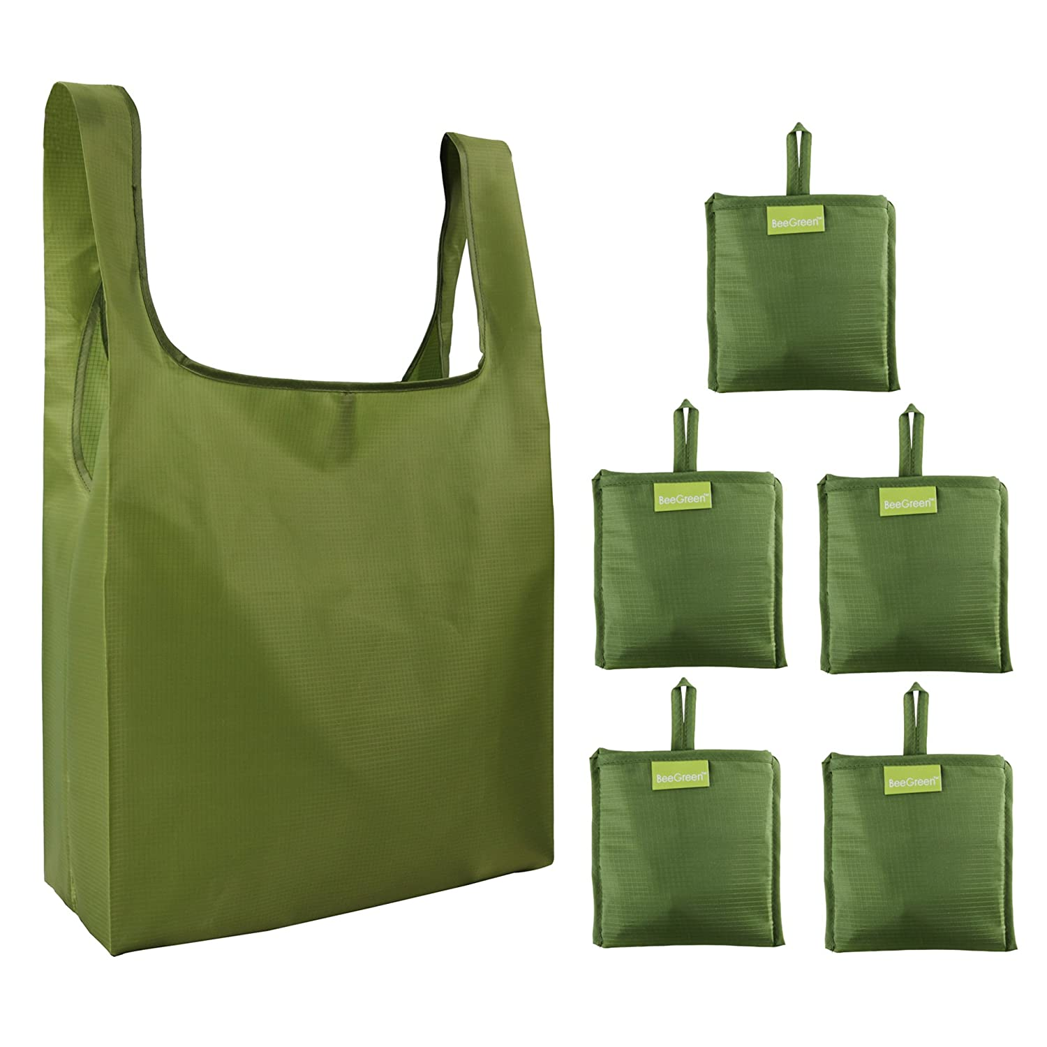 ea1e3b6383 Reusable Grocery Bags Set of 5, Grocery Tote Foldable into Attached ...