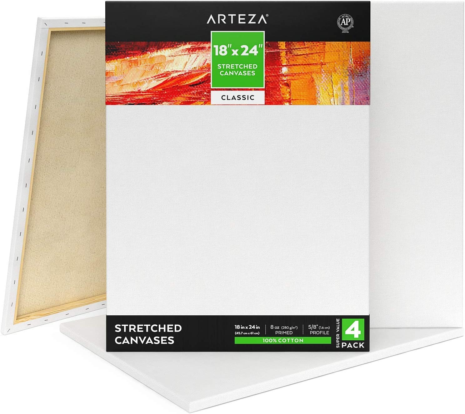 """ARTEZA 18x24"""" Stretched White Blank Canvas, Pack of 4, Primed, 100% Cotton, Acrylic Pouring, Oil Paint & Wet Art Media, Canvases for Professional Artist, Hobby Painters (Class - 4 Pack)"""