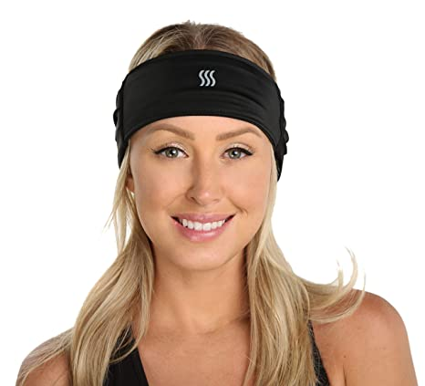 SAAKA Women s X Band Headband Sweatband. X-tra Wide for Maximum Absorption.  Made with Viscose from Bamboo. 4 Ways to wear. Nonslip. Best for Running 6769eab2eb
