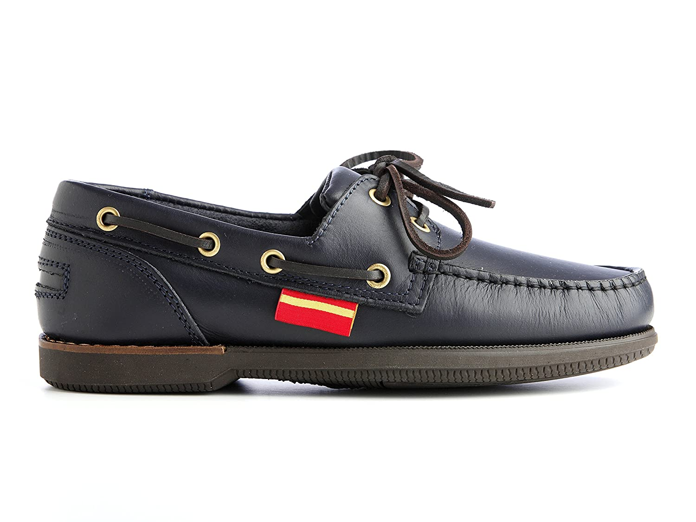 Náutica Banderas Zapatos náuticos 100% piel cosidos a mano con suela antideslizante 43 EU Azul Marino