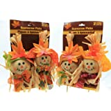 2 Count Smiling Scarecrows on Picks (Pack of 2)