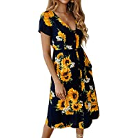 Angashion Women's Dresses- Summer Boho Sunflower Button V Neck Short Sleeve Midi Skater T Shirt DressWith Pockets
