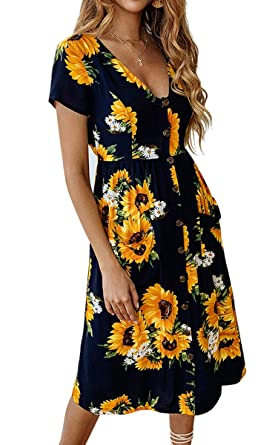 b1d5dc4ea3d07 Angashion Women's Dresses- Summer Boho Sunflower Button V Neck Short Sleeve  Midi Skater T Shirt