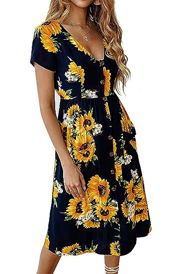 076f48084557a Angashion Women's Dresses- Summer Boho Sunflower Button V Neck Short Sleeve  Midi Skater T Shirt DressWith Pockets