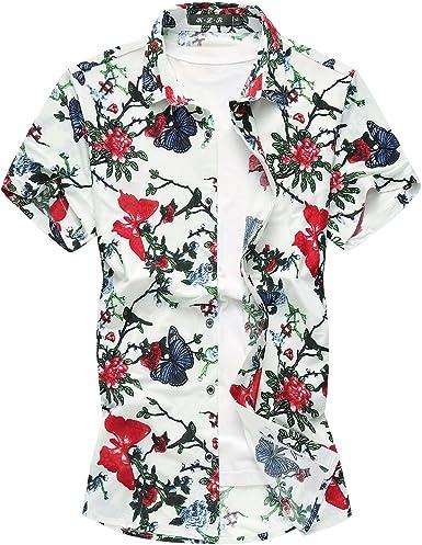 MOGU Hombre Camisa de Mariposas Flores 2018 Camisas de Manga Corta de Verano de Playa: Amazon.es: Ropa y accesorios