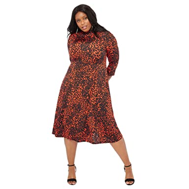 Debenhams The Collection Orange Leopard Print Knee Length Fit and Flare  Plus Size Dress 22  The Collection  Amazon.co.uk  Clothing 5a69c9b9c