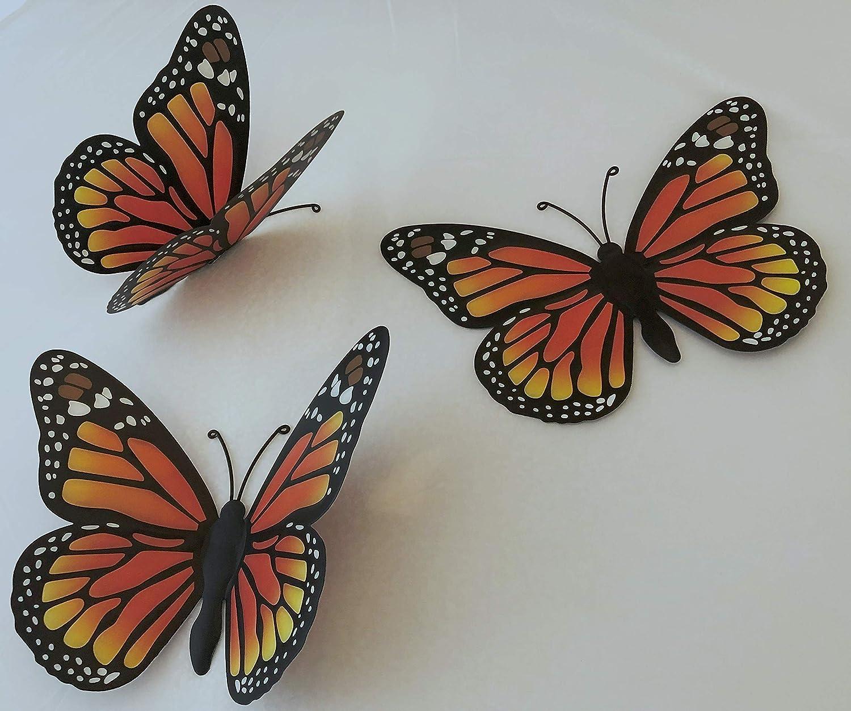 "3D Metal Butterfly Wall Art Decor (Set of 3). Monarch Butterflies Wall Art 9.7"" x 6.7"". Inspirational Metal Art, Butterfly Yard Decorations. Mexican Artesania Decor, Metal Decorative Wall Art."