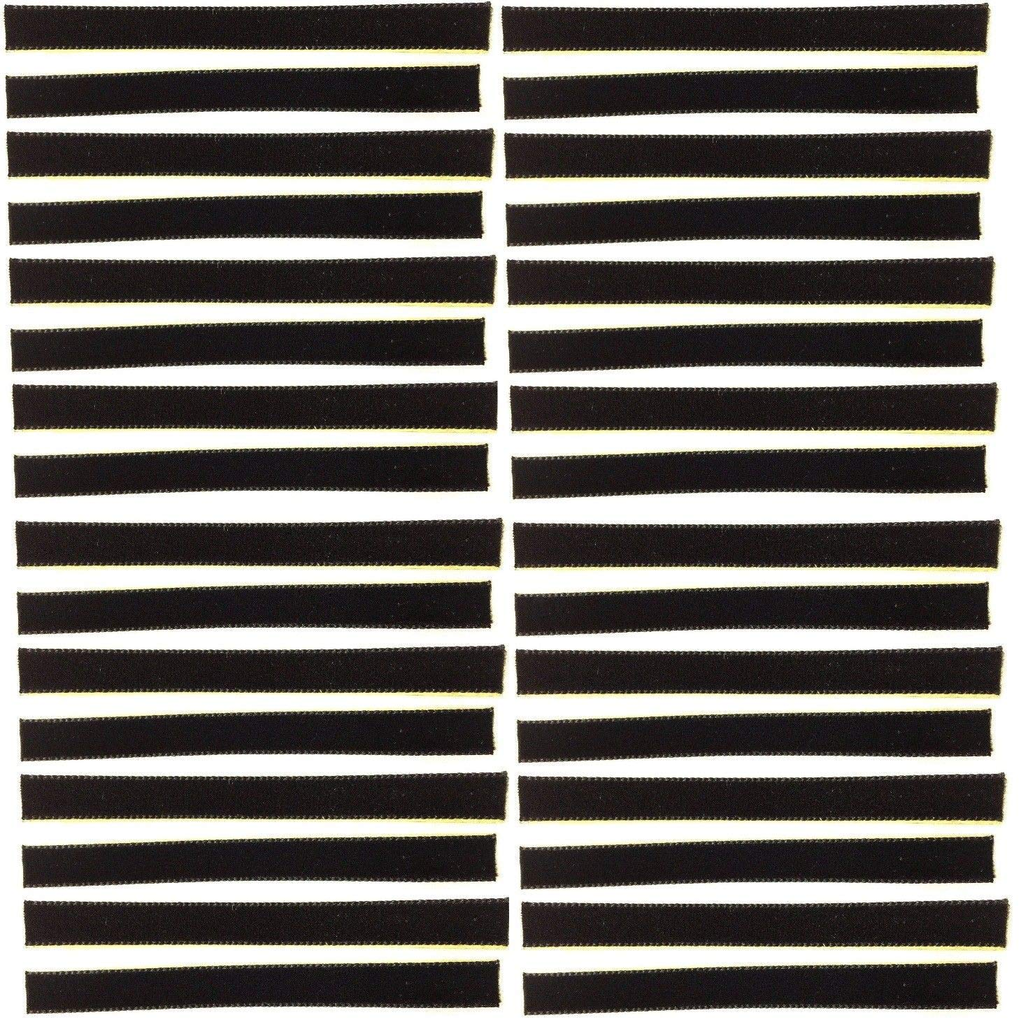 32-Pack of Black Over-Sized VPI Machine/Nitty Gritty/Okki Nokki Replacement LP Vinyl Record Album Cleaning/Cleaner Strips Oversized 3/8'' x 4'' Velvet/Felt/3M Adhesive by Capitol Collectibles