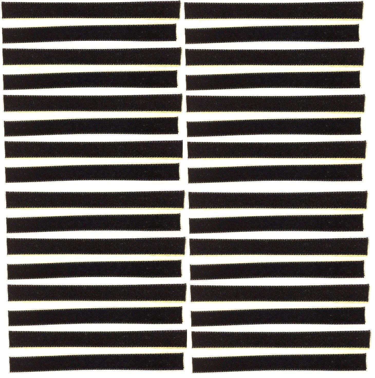 32-Pack of Black Over-Sized VPI Machine/Nitty Gritty/Okki Nokki Replacement LP Vinyl Record Album Cleaning/Cleaner Strips Oversized 3/8'' x 4'' Velvet/Felt/3M Adhesive