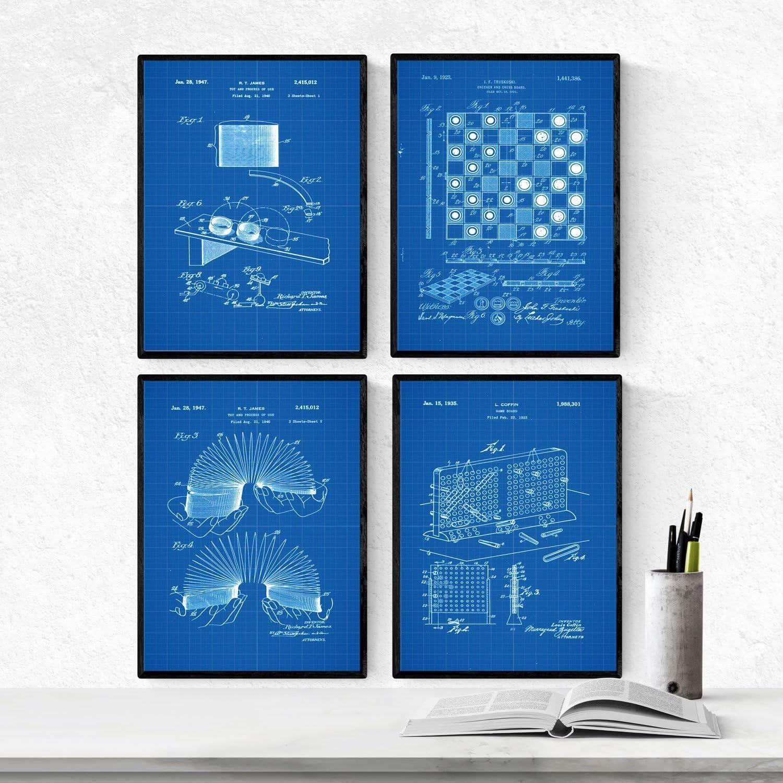 Nacnic Azul - Pack de 4 Láminas con Patentes de Juegos Infantiles. Set de Posters con inventos y Patentes Antiguas. Elije el Color Que Más te guste. Impreso en Papel de 250