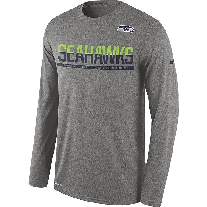 Nike Men s Seattle Seahawks 16 Team Practice Long-Sleeve Tee Dark Grey  Heather Size Small 734ba9fda