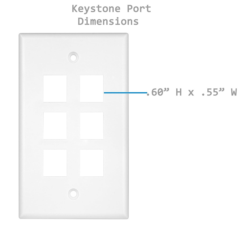 White Size 1-Gang 4.50 x 2.76 Port Size .60 x 50 ENERLITES 4 Port Keystone Jack Wall Plate Port Size .60 x 50 8874-W for Cat6 RJ45 RJ11 HDMI Audio Video Modules Polycarbonate Thermoplastic Size 1-Gang 4.50 x 2.76
