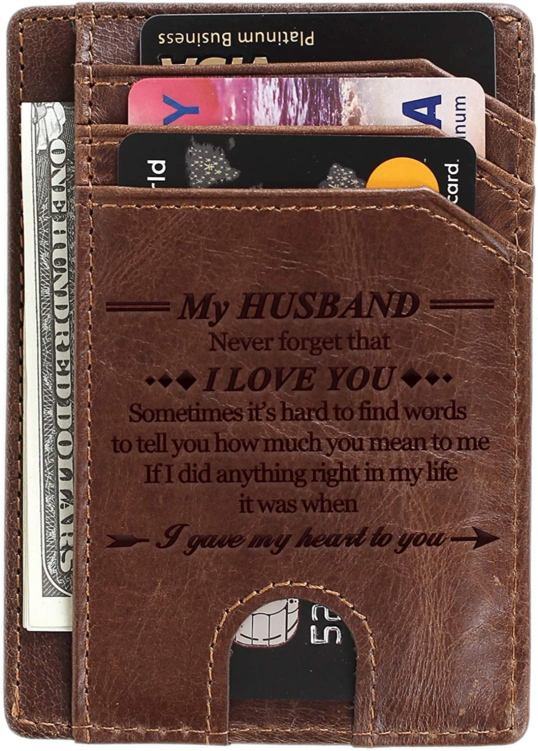 Lipstick Kiss Faux Leather Money Clip Wallet Personalized Engraving Included