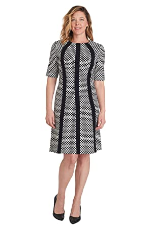 ILE NEW YORK Womens Black and White Round Neck Office Wear Sheath Dress-14