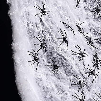 Lot de 2 Extensible Spider s//n Web Décoration Halloween Taille unique Blanc