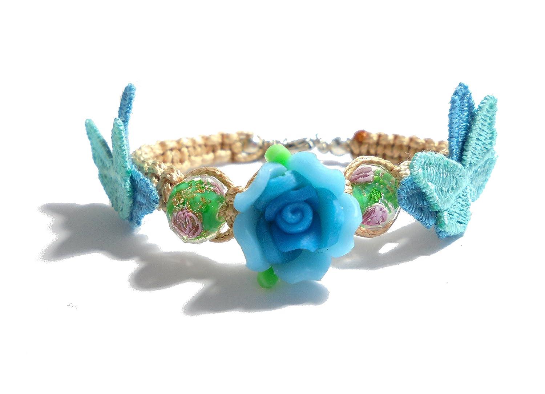 PANDORESECRETS pulsera perlas de vidrio y flor–Pulsera infantil (6–12años)–azul