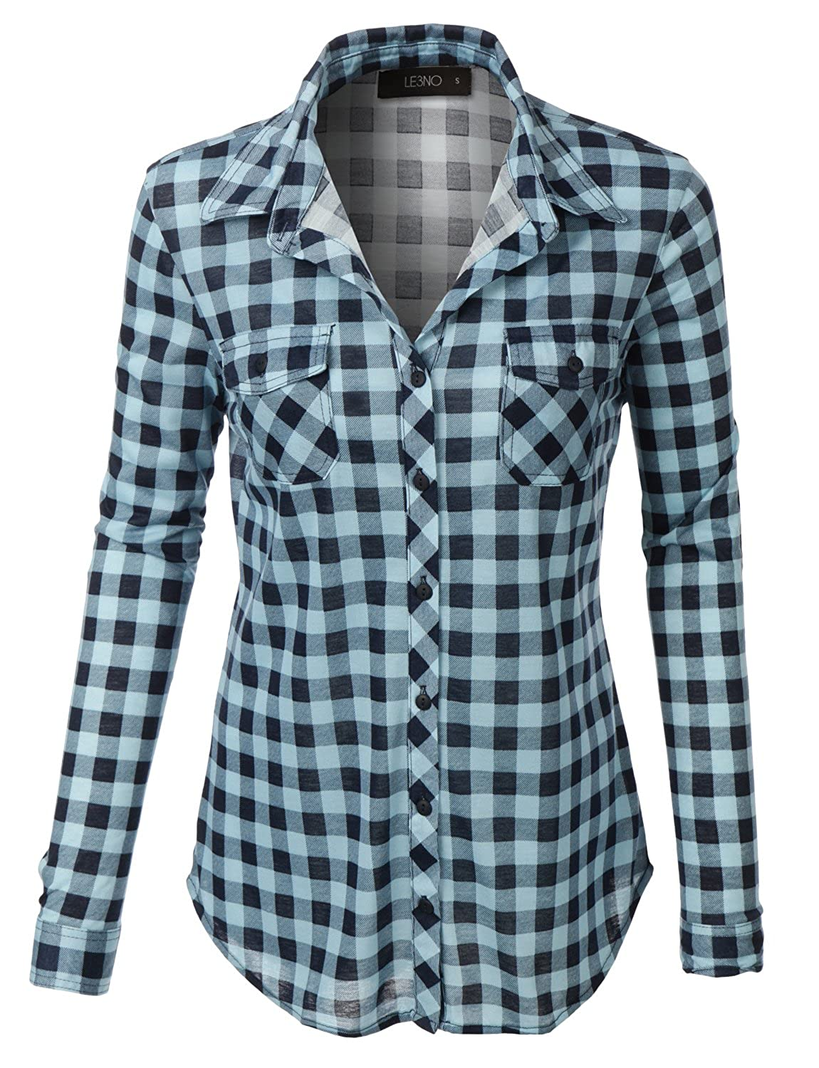 1ba2dc48 LE3NO Womens Lightweight Plaid Button Down Shirt with Roll Up Sleeves:  Amazon.co.uk: Clothing