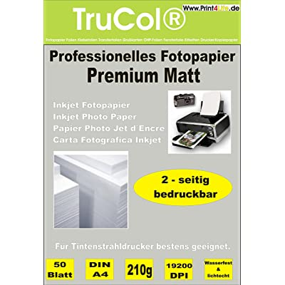 100 feuilles de papier photo couché spécial MATT deux côtés 210g /m² A4; Papier imagerie double face 210; Mattes papier photo pour les impressions recto-verso de haute qualité. • Ca