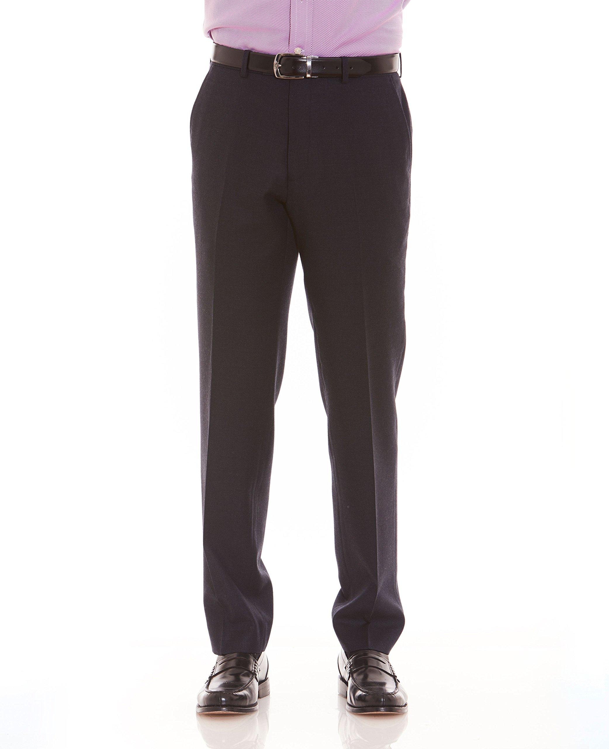 The Savile Row Company Savile Row Men's Charcoal Birdseye Tailored Business Dress Pant 40'' 32'' by The Savile Row Company