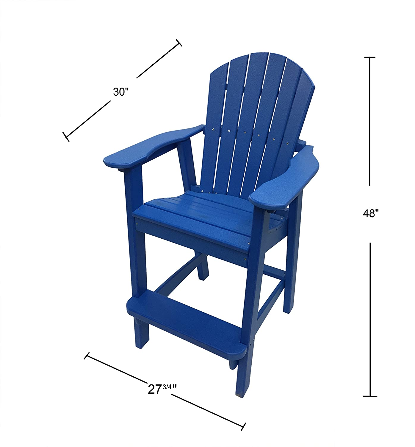 Phat Tommy Recycled Poly Resin Balcony Chair Settee Durable and Adirondack Patio Furniture, Blue