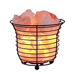 CO-Z Himalayan Dimmable Basket Salt Lamp, Desk Light with Natural Glow Himalayan Salt Crystals, Table Lamp with Dimmer, Black Real Himalayan Metal Salt Rock Lamp