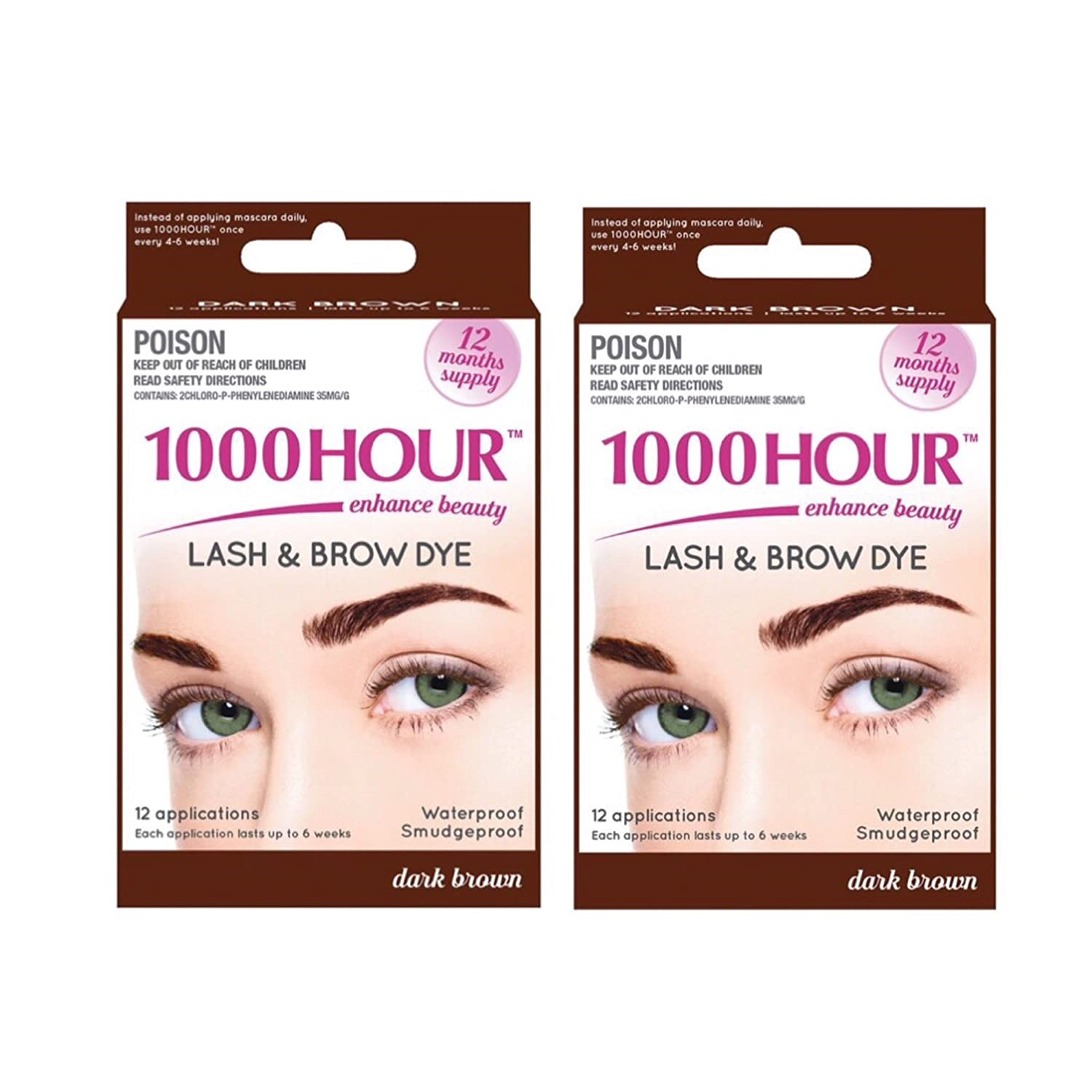 063bfecb83b Amazon.com : 1000 Hour Eyelash & Brow Dye /Tint Kit Permanent Mascara (Dark  Brown) (2 Pack) : Beauty