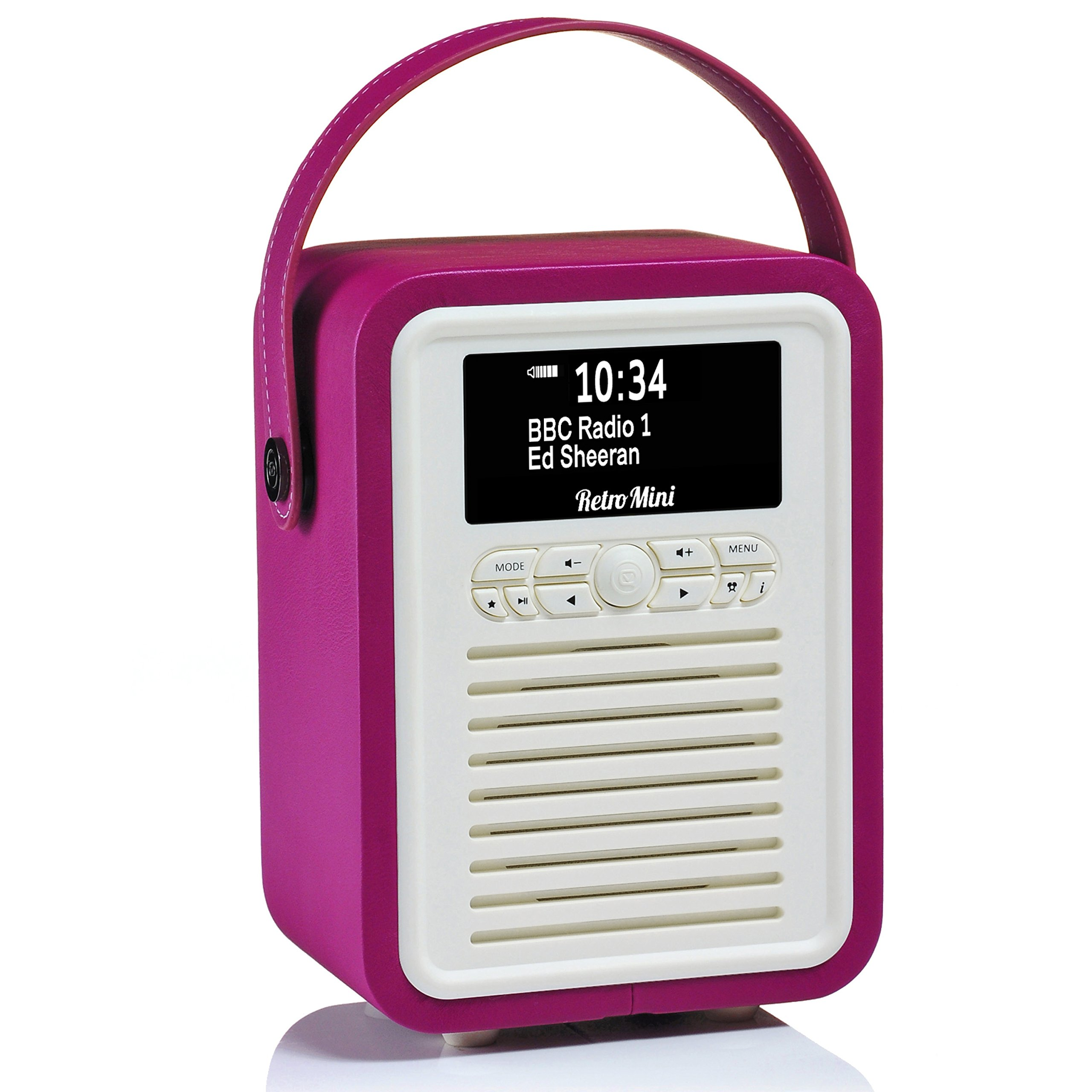 Retro Mini by VQ | Radio & Bluetooth Speaker with AM/FM & HD Radio, Dual Alarm Clock Mains or Battery – Premium PU Leather Case Electric Pink