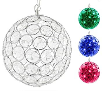 Hoont™ Outdoor Hanging Decorative Sparkling Crystals Gazing Ball With Solar  Powered Color Changing LED Light