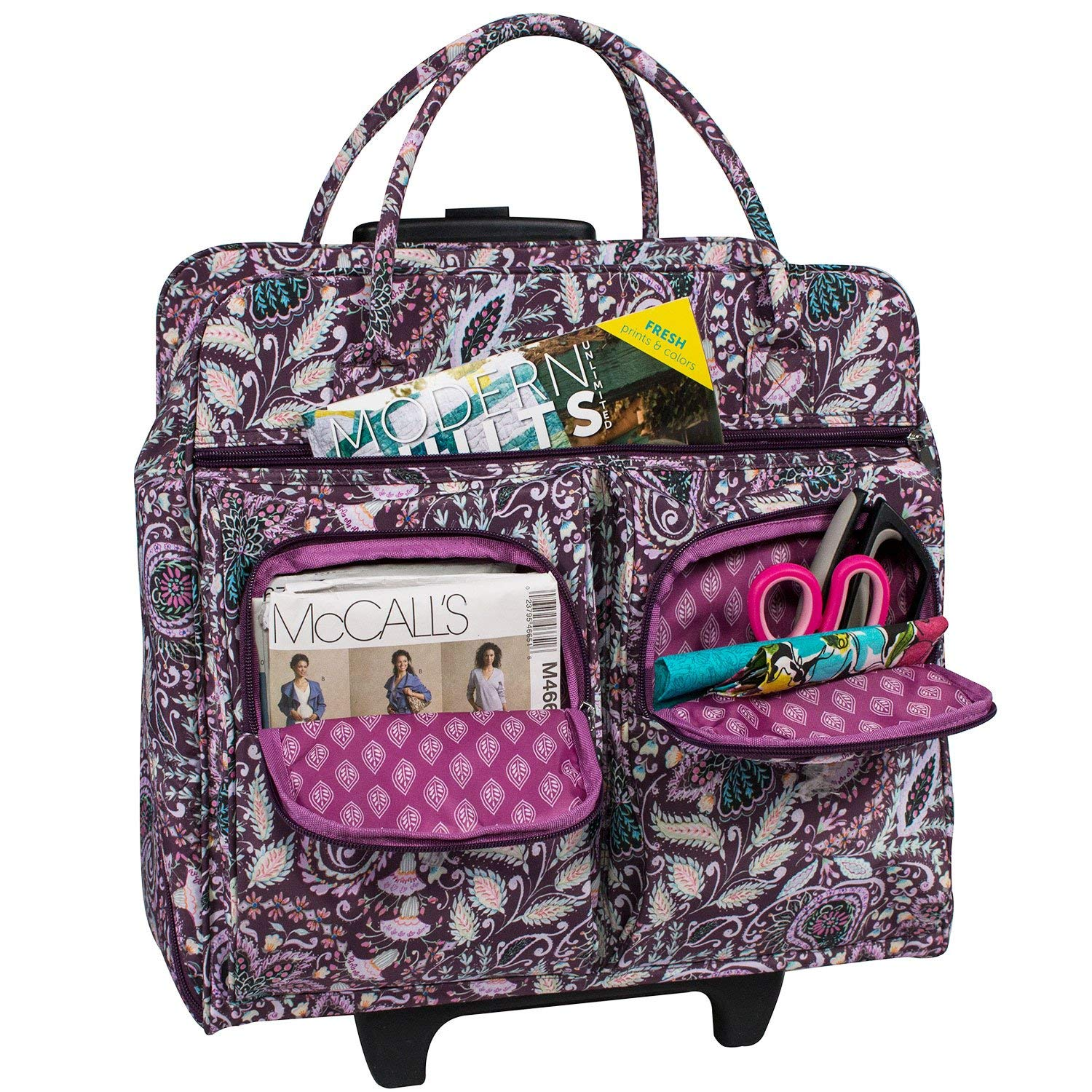 Everything Mary Deluxe Purple Paisley Floral Rolling Sewing Case by Dena Designs - Sewing Machine Case Fits Most Brother & Singer Sewing Machines - Sewing Machine Bag with Dual Handles & Wheels by Everything Mary