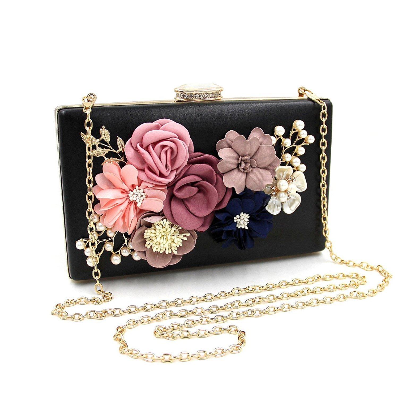 Women Flower Clutches Evening Bags Handbags Wedding Clutch Purse (Black 3)