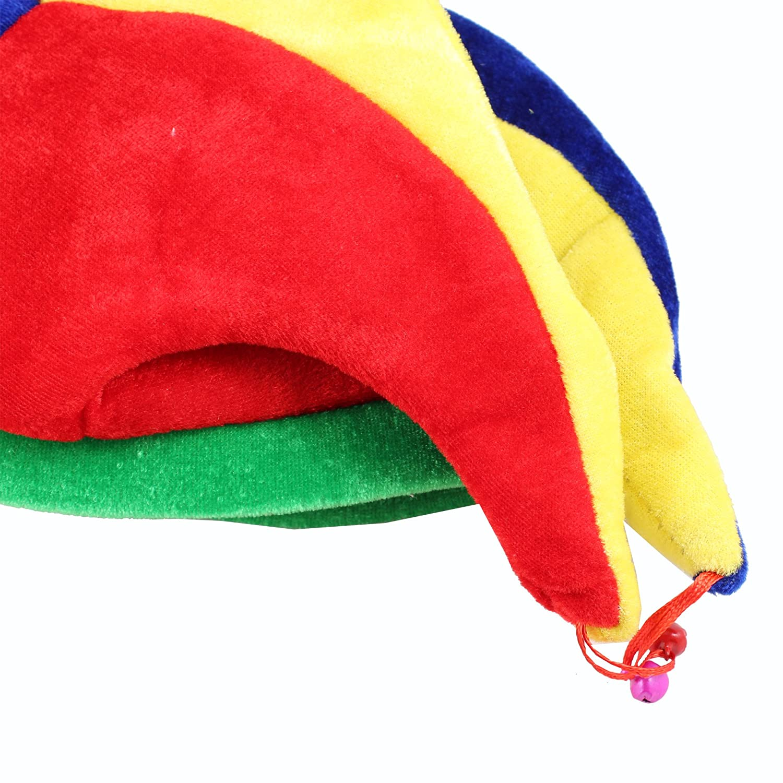 Funny Multicolor Jester Clown Costume Hat Mardi Gras Halloween
